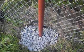 Забутовка столбов щебнем трамбовка грунтом или бетонирование