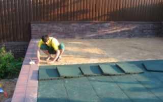 Укладка резиновой плитки на бетонное основание