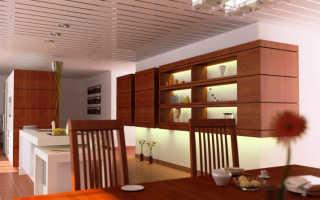 Монтаж реечного подвесного потолка на кухне